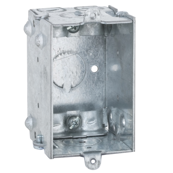 Picture of RACO 528 Switch Box, 1-Gang, 1-Outlet, 7-Knockout, 1/2 in Knockout, Steel, Gray, Galvanized, Bracket Mounting