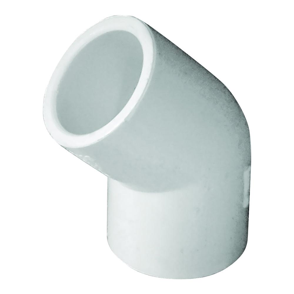 Picture of GENOVA 300 30605 Pipe Elbow, 1/2 in, Slip, 45 deg Angle, PVC, White, SCH 40 Schedule