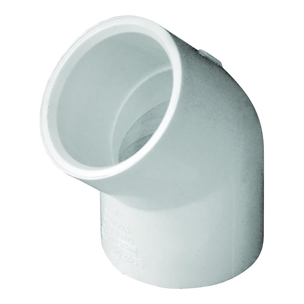 Picture of GENOVA 300 30610 Pipe Elbow, 1 in, Slip, 45 deg Angle, PVC, White, SCH 40 Schedule