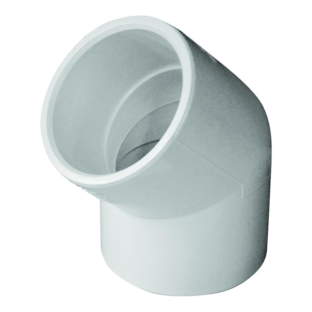 Picture of GENOVA 300 30615 Pipe Elbow, 1-1/2 in, Slip, 45 deg Angle, PVC, White, SCH 40 Schedule