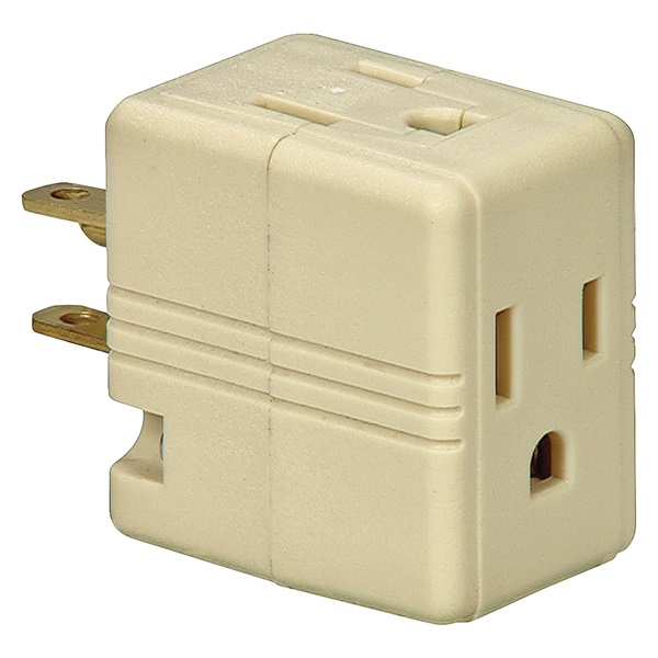Picture of Eaton Wiring Devices BP1482V Outlet Adapter, 2-Pole, 15 A, 125 V, 3-Outlet, NEMA: 5-15R, White