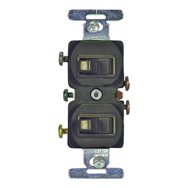 Picture of Eaton Wiring Devices 271B-BOX Combination Toggle Switch, 15 A, 120/277 V, Screw Terminal, Brown