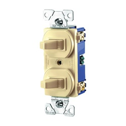 Picture of Eaton Wiring Devices 271V-BOX Combination Toggle Switch, 15 A, 120/277 V, Screw Terminal, Nylon Housing Material
