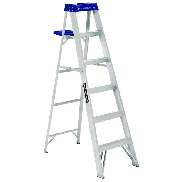 Picture of Louisville AS2106 Step Ladder, 124 in Max Reach H, 5-Step, 250 lb, Type I Duty Rating, 3 in D Step, Aluminum