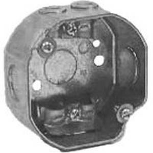 Picture of Orbit 3RB Series 3RB-NM Outlet Box with Extension Ring, 1-Gang, 7-Knockout, 1/2 in Knockout, Steel, Gray