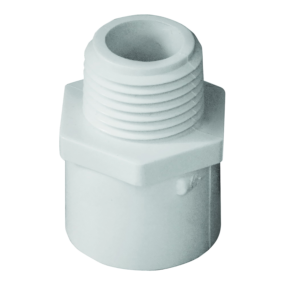 Picture of GENOVA 300 30405 Pipe Adapter, 1/2 in, Slip x MIP, PVC, White, SCH 40 Schedule