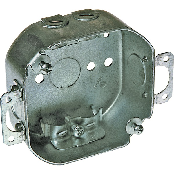 Picture of RACO 150 Octagon Box, 5 in OAW, 1-1/2 in OAD, 4 in OAH, 1-Gang, 3-Knockout, Galvanized Steel Housing Material