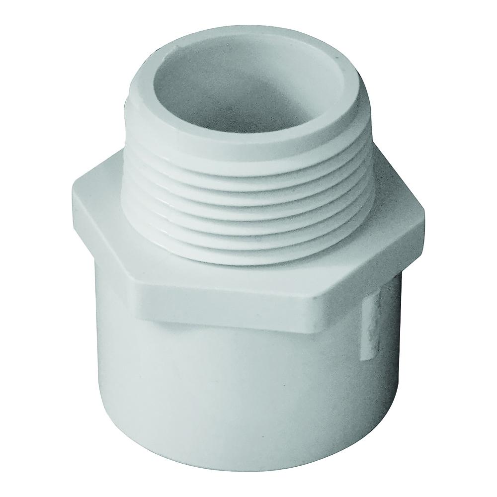Picture of GENOVA 300 30410 Pipe Adapter, 1 in, Slip x MIP, PVC, White, SCH 40 Schedule