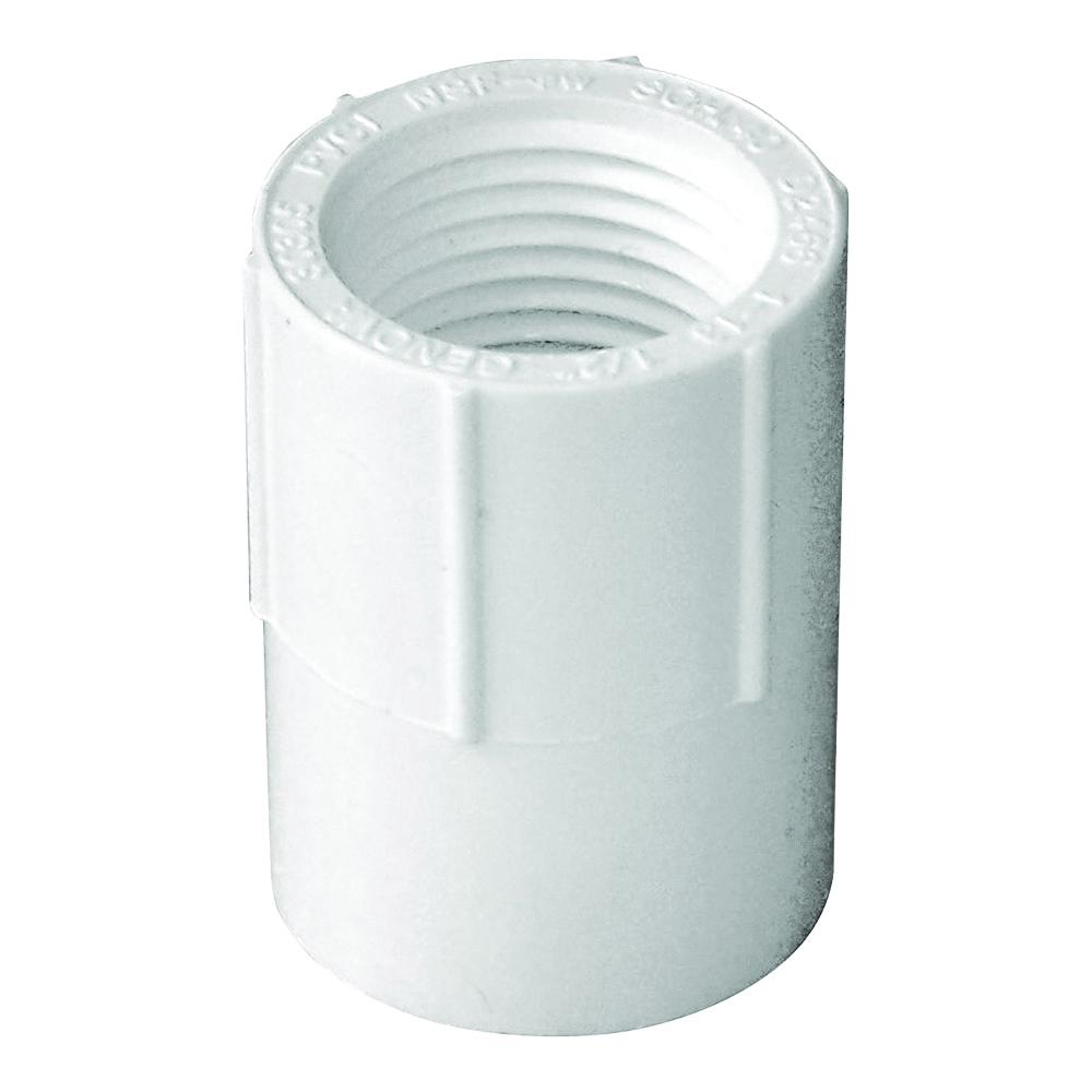 Picture of GENOVA 300 30305 Pipe Adapter, 1/2 in, Slip x FIP, PVC, White, SCH 40 Schedule