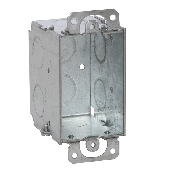 Picture of RACO 8500 Switch Box, 1-Gang, 8-Knockout, 1/2 in Knockout, Steel, Gray