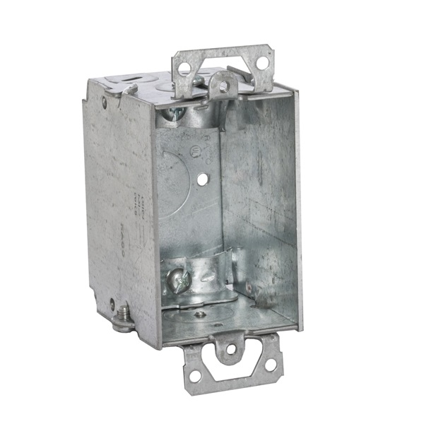 Picture of RACO 519 Switch Box, 1-Gang, 5-Knockout, 1/2 in Knockout, Steel, Gray, Galvanized