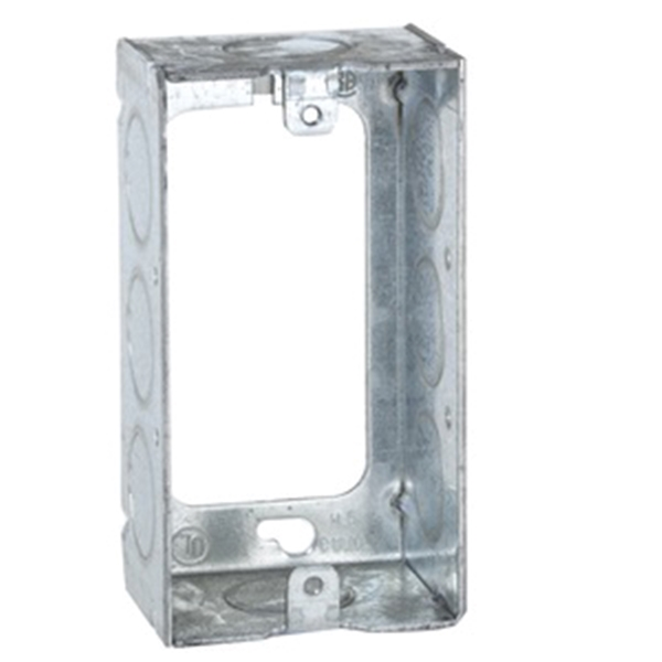Picture of RACO 653 Handy Box, 1-Gang, 8-Knockout, 1/2 in Knockout, Galvanized Steel, Gray