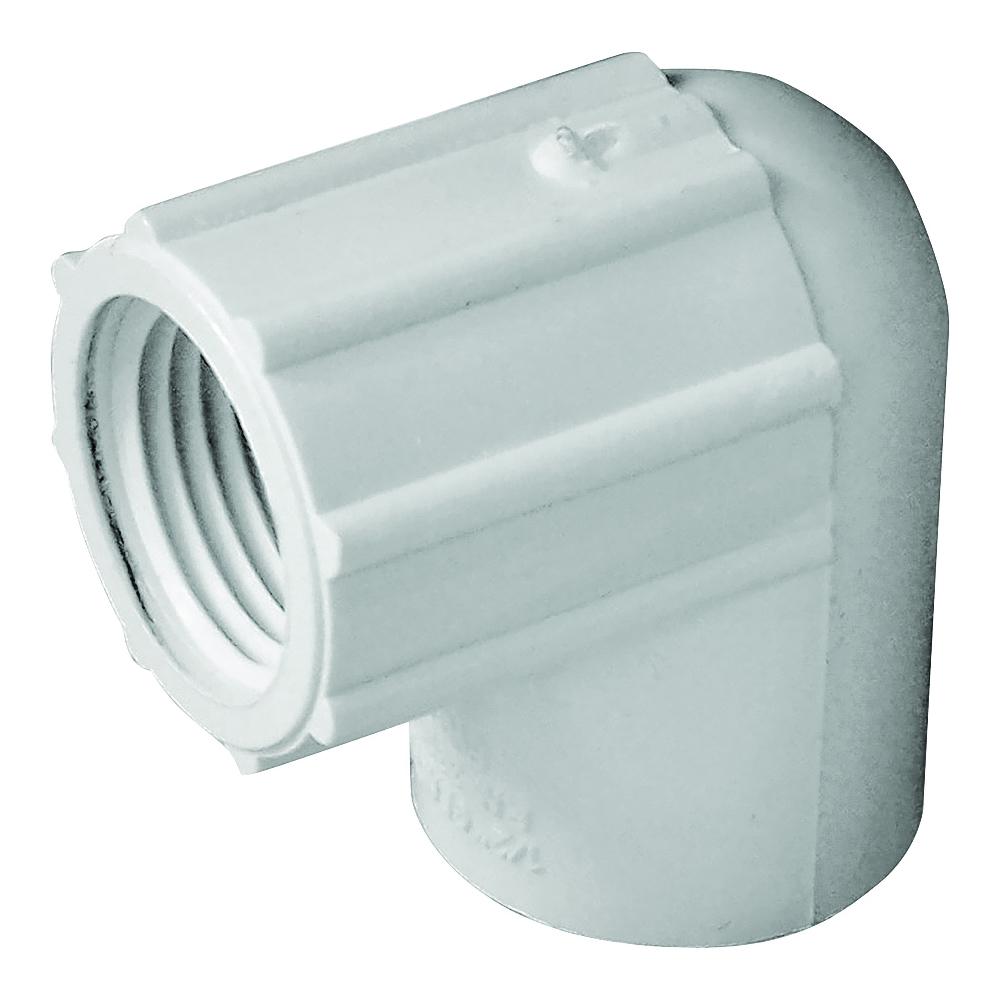 Picture of GENOVA 300 33905 Pipe Elbow, 1/2 in, Slip x FIP, 90 deg Angle, PVC, White, SCH 40 Schedule