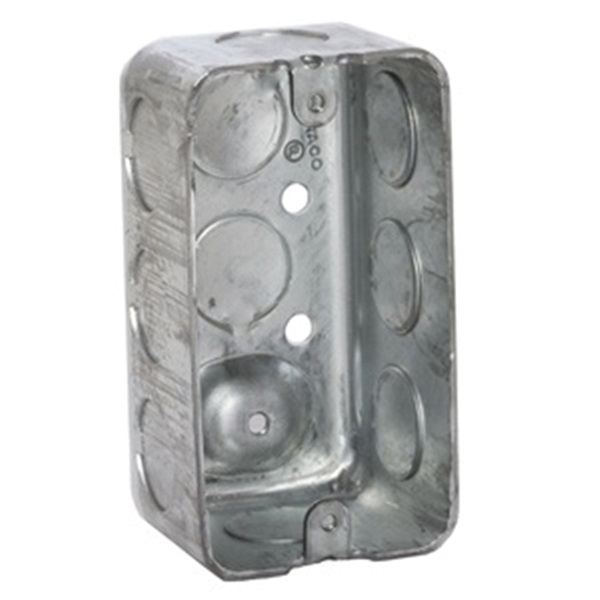 Picture of Orbit DHB-1-50 Drawn Handy Box, 1-Gang, 10-Knockout, 1/2, 3/4 in Knockout, Steel, Gray, Galvanized
