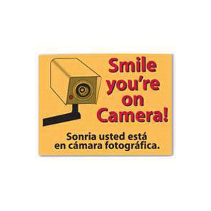 Picture of Centurion SIGN SMILE Shoplifting Sign, Rectangular, Smile you're On Camera!, Red Legend, Yellow Background, Plastic