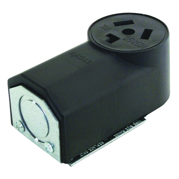 Picture of Eaton Cooper Wiring 125 Power Receptacle, 3-Pole, 125/250 V, 30 A, NEMA 10-30R, Black