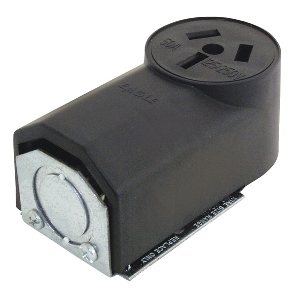 Picture of Eaton Cooper Wiring 112 Power Receptacle, 3-Pole, 125/250 V, 50 A, NEMA 10-50R, Black
