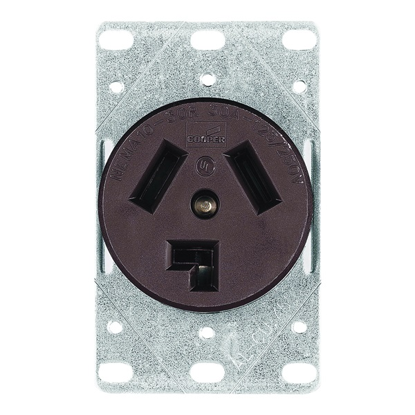 Picture of Eaton Cooper Wiring 38B-BOX Power Receptacle, 3-Pole, 125/250 V, 30 A, NEMA 10-30R, Brown