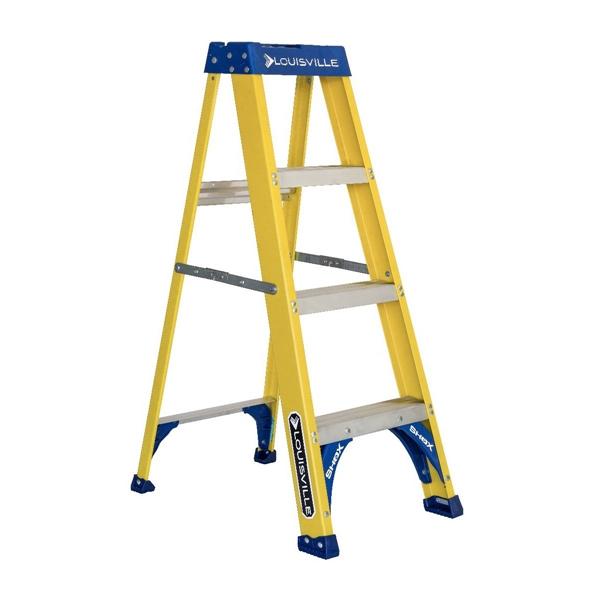 Picture of Louisville FS2004 Step Ladder, 102 in Max Reach H, 3-Step, 250 lb, Type I Duty Rating, 3 in D Step, Fiberglass