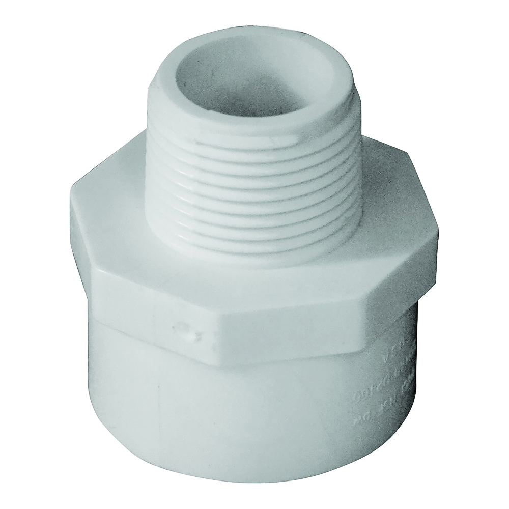 Picture of GENOVA 300 30477 Reducing Adapter, 1 x 3/4 in, Slip x MIP, PVC, White, SCH 40 Schedule
