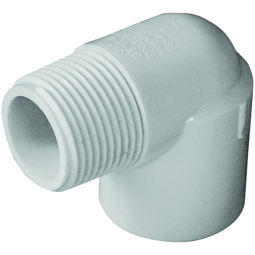 Picture of GENOVA 300 32807 Street Pipe Elbow, 3/4 in, Slip x MIP, 90 deg Angle, PVC, White, SCH 40 Schedule