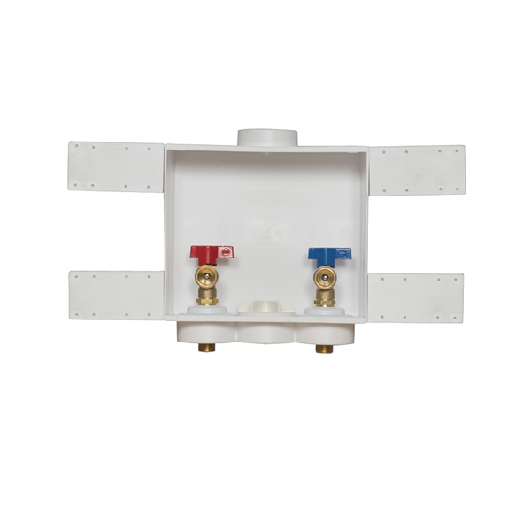 Picture of Oatey Quadtro 38529 Washing Machine Outlet Box, 1/2 in Connection, Brass/Polystyrene, Brown