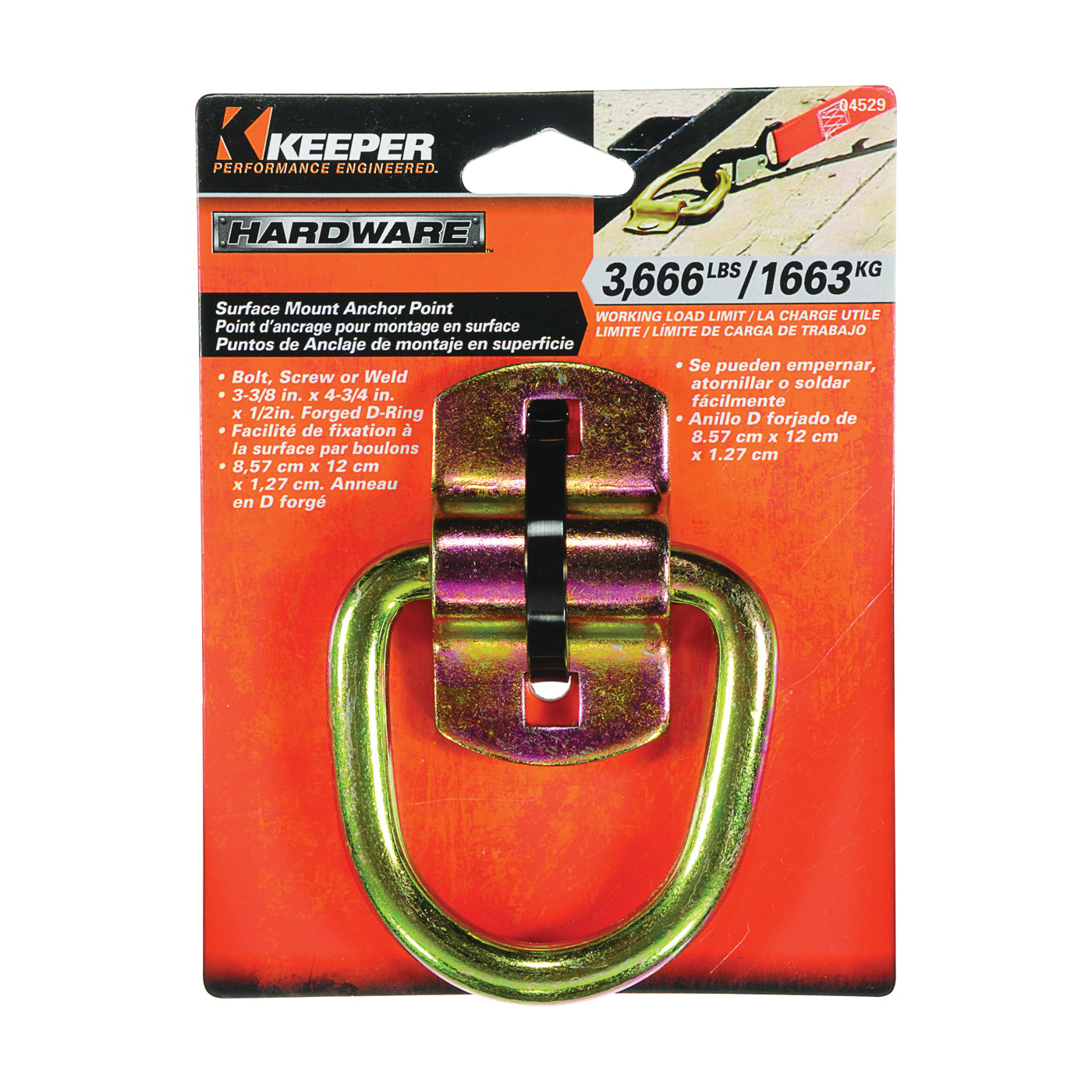 Picture of KEEPER 04529 Anchor Point Wire Ring, Heavy-Duty, Steel