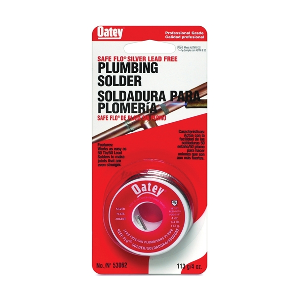Picture of Oatey Safe-Flo 53062 Wire Solder, 1/4 lb Package, Carded, Solid, Gray/Silver, 415 to 455 deg F Melting Point