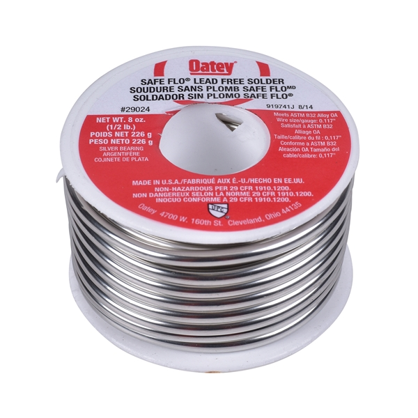 Picture of Oatey Safe-Flo 29024 Wire Solder, 1/2 lb Package, Solid, Silver, 415 to 455 deg F Melting Point