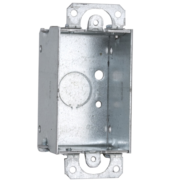Picture of RACO 400 Switch Box, 1-Gang, 1-Outlet, 3-Knockout, 1/2 in Knockout, Steel, Gray, Galvanized, Screw Mounting