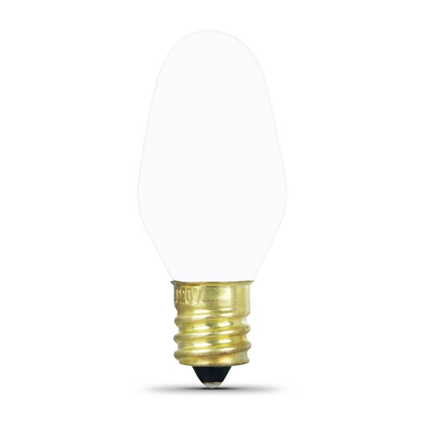 Picture of Feit Electric BP7C7/W Incandescent Lamp, 7 W, Candelabra E12 Lamp Base, 2700 K Color Temp, 3000 hr Average Life
