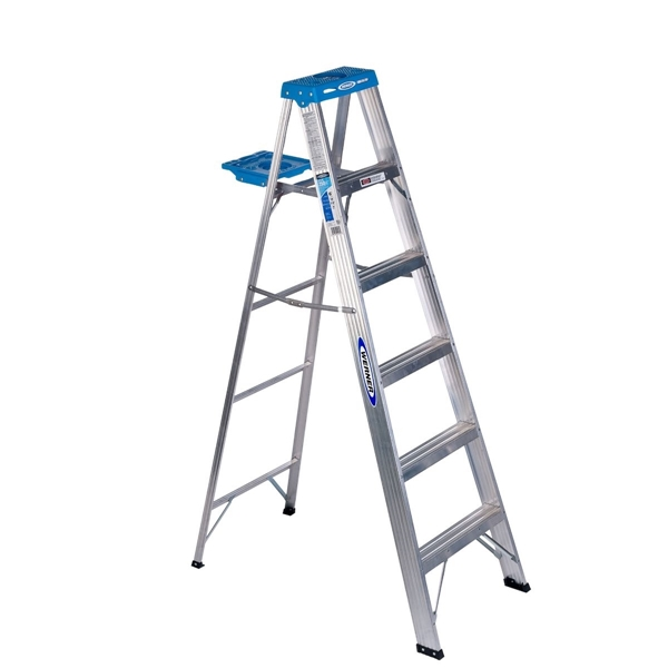 Picture of WERNER 366 Step Ladder, 10 ft Max Reach H, 5-Step, 250 lb, Type I Duty Rating, 3 in D Step, Aluminum, Blue