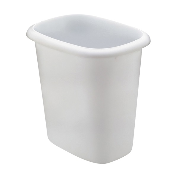 Picture of Rubbermaid FG295300 WHT Vanity Waste Basket, 6 qt Capacity, Oval, Plastic, White, 10 in W, 7 in D, 9 in H