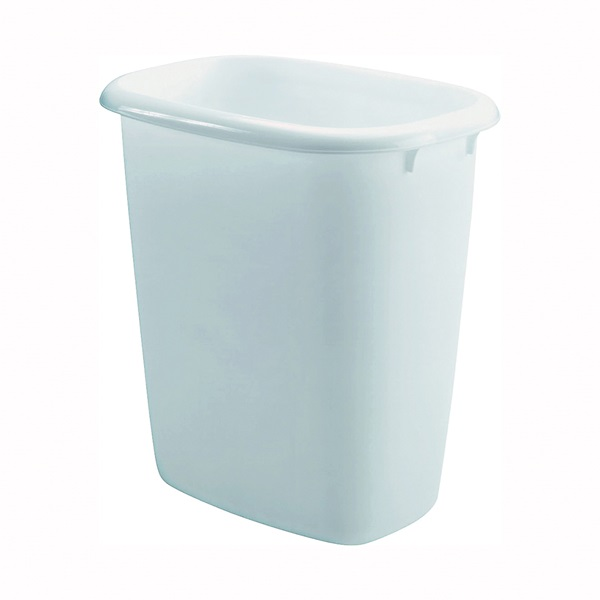 Picture of Rubbermaid FG295800WHT Vanity Waste Basket, 14 qt Capacity, Oval, Plastic, White, 12 in W, 8 in D, 13 in H