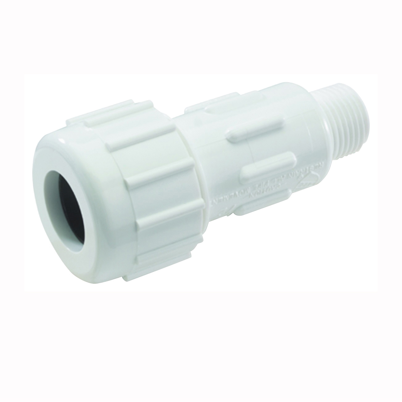 Picture of NDS CPA-0750 Pipe Adapter, 3/4 in, Compression x MPT, PVC, White, SCH 40 Schedule, 150 psi Pressure