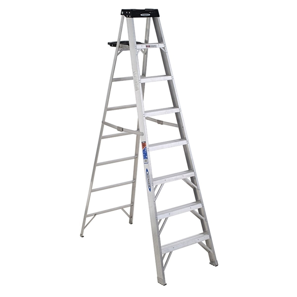 Picture of WERNER 378 Step Ladder, 12 ft Max Reach H, 7-Step, 300 lb, Type IA Duty Rating, 3 in D Step, Aluminum, Black