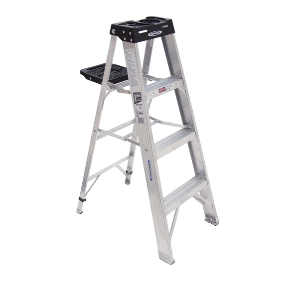 Picture of WERNER 374 Step Ladder, 8 ft Max Reach H, 3-Step, 300 lb, Type IA Duty Rating, 3 in D Step, Aluminum, Black