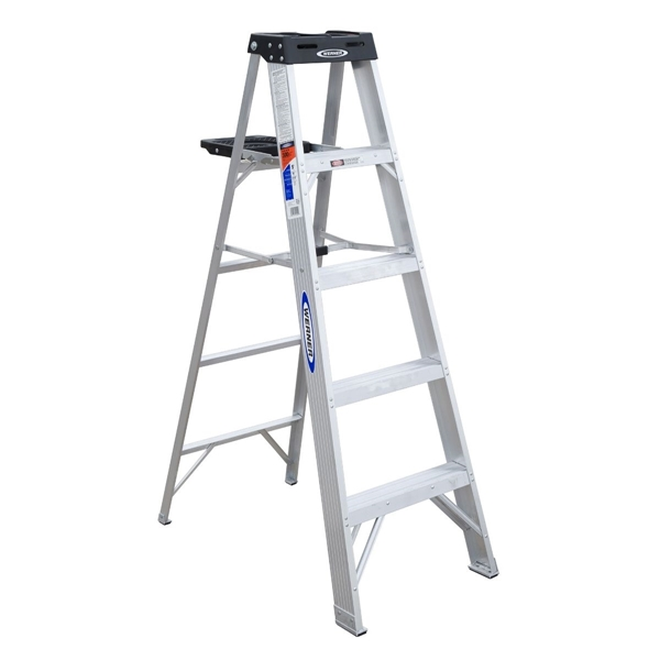 Picture of WERNER 375 Step Ladder, 9 ft Max Reach H, 4-Step, 300 lb, Type IA Duty Rating, 3 in D Step, Aluminum, Black