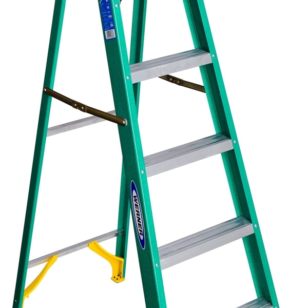 Picture of WERNER 5906 Step Ladder, 10 ft Max Reach H, 5-Step, 225 lb, Type II Duty Rating, 3 in D Step, Fiberglass, Green