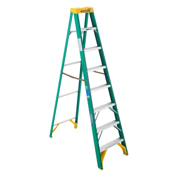 Picture of WERNER 5908 Step Ladder, 12 ft Max Reach H, 7-Step, 225 lb, Type II Duty Rating, 3 in D Step, Fiberglass, Yellow