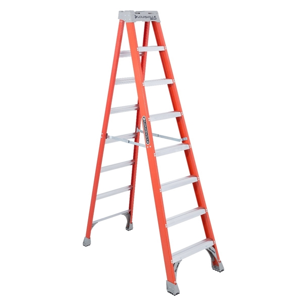 Picture of Louisville FS1508 Step Ladder, 147 in Max Reach H, 7-Step, 300 lb, Type IA Duty Rating, 3 in D Step, Fiberglass