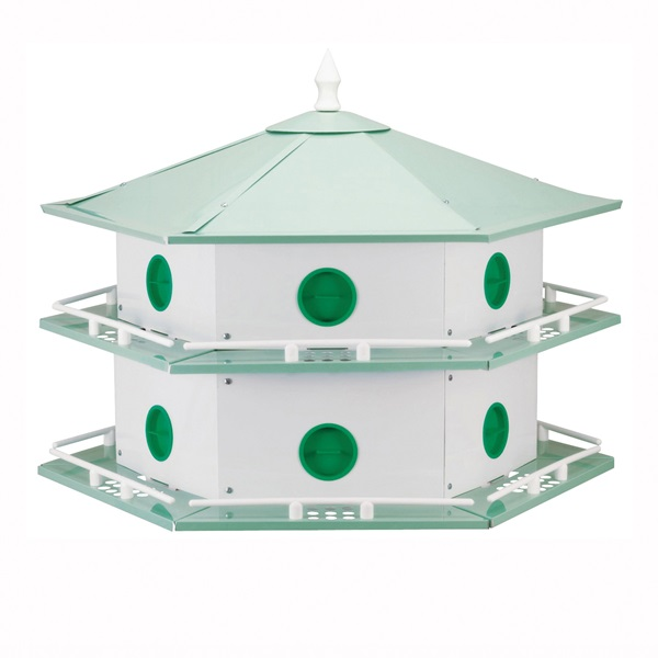 Picture of HEATH AH-12D Bird House, 12 in W, 6 in D, 14 in H, Hexagon, Aluminum, Light Green/White