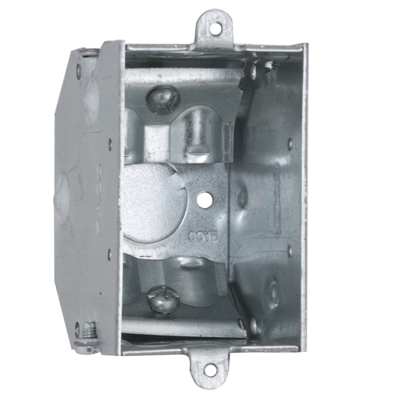 Picture of RACO 473 Switch Box, 1-Gang, 1-Outlet, 3-Knockout, 1/2 in Knockout, Steel, Gray, Galvanized