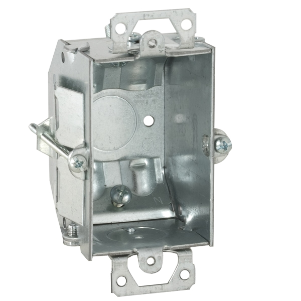 Picture of Orbit GBV-OW Switch Box, 1-Gang, 1-Outlet, 1-Knockout, 1/2 in Knockout, Steel, Gray, Galvanized