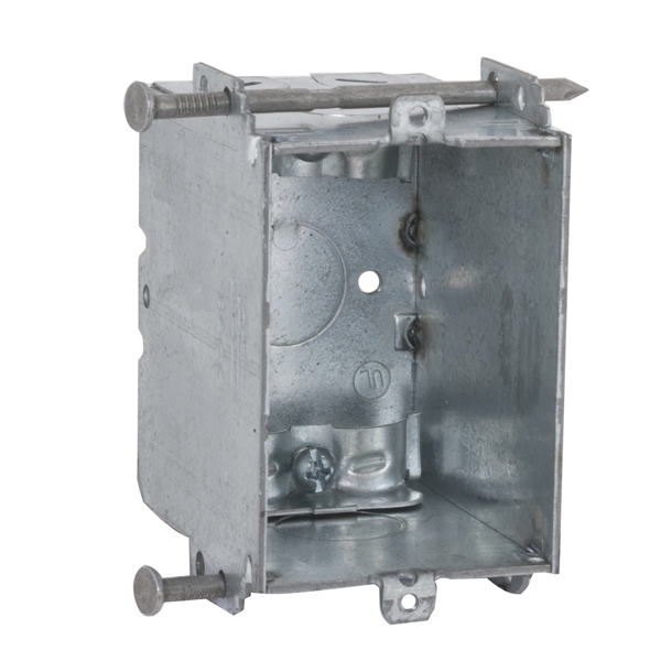 Picture of RACO 8355 Switch Box, 1-Gang, 1-Outlet, 1-Knockout, 1/2 in Knockout, Steel, Gray, Galvanized