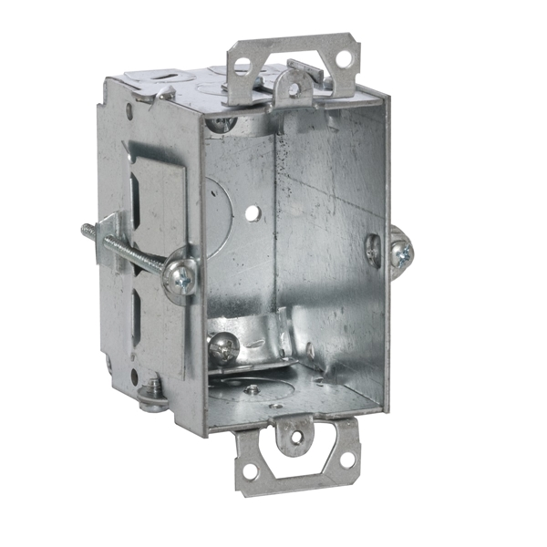 Picture of Orbit GB-1-NM-OW Gangable Switch Box, 1-Gang, 1-Outlet, 7-Knockout, 1/2 in Knockout, Steel, Gray, Galvanized