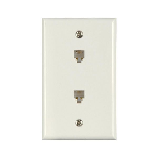 Picture of Zenith TW1002DW Telephone Wallplate, 4-1/2 in L, 2-3/4 in W, 2-Gang, White