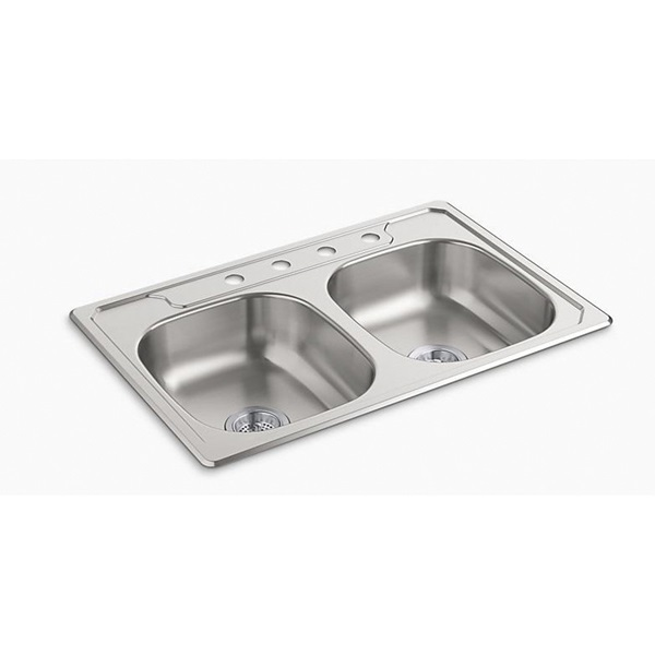 Picture of Sterling Middleton 14633-4-NA Kitchen Sink, 4-Faucet Hole, 33 in OAW, 22 in OAD, 6 in OAH, Stainless Steel