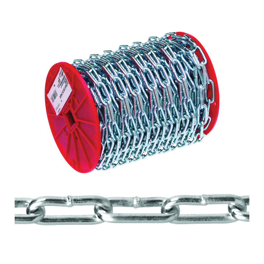 Picture of Campbell 0723627 Straight Link Coil Chain, #2/0 Trade, 125 ft L, 520 lb Working Load, Steel, Zinc