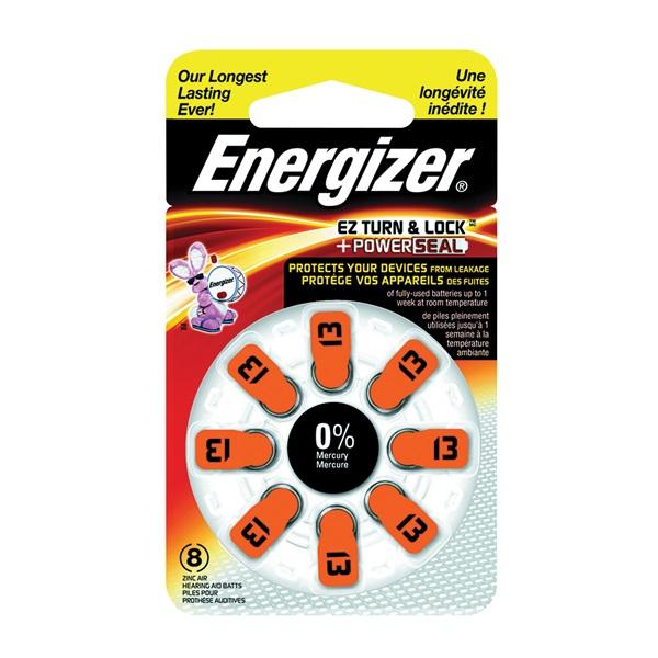 Picture of Energizer 13 Series AZ13DP-8 Hearing Aid Battery, 1.4 V Battery, 242 mAh, Zinc-Air